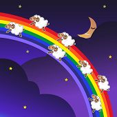 stock photo of counting sheep  - Seven sheep jumping on a rainbow in the night with a happy face - JPG