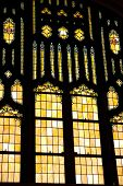 picture of stained glass  - An image of a large stained glass inside a church - JPG