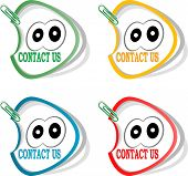 Contact Us Labels And Cute Cartoon Eyes, Stickers For The Web Page