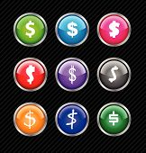 Set Of Vector Buttons With Different Variations Of Dollar Sign Style. Easy To Edit, Any Size Or Colo