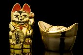 Gold Ingot e gato afortunado (china)