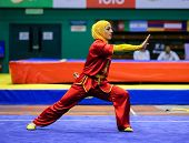KUALA LUMPUR - NOV 03: Hanieh Rajabi of Iran shows her fighting style in the 'changquan compulsory'