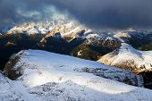 Winter landscape in Sella Group, Dolomites, Italy - view from Biz Boe