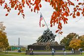 WASHINGTON, DC - NOV 05: Iwo Jima Memorial in Washington, DC on November 05, 2013. The Memorial hono