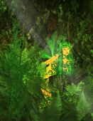 pic of gremlins  - Green fairy standing in the forest with plants and leaves - JPG
