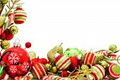 stock photo of candy cane border  - Christmas corner border with baubles - JPG