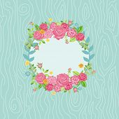 Beautiful Card with Floral Wreath  - with place for your text - in vector