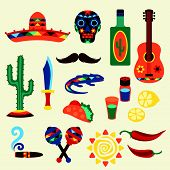 stock photo of mexican fiesta  - Collection of mexican icons in native style - JPG