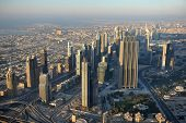 Aerial view of Dubai downtown with modern skyscrapers, Dubai - United Arab Emirates