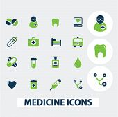 medicine, health, hospital icons set, vector