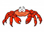 pic of claw  - Cartoon red marine crab with big pincer claws and a happy smile - JPG