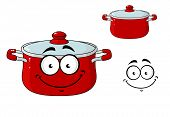 picture of saucepan  - Little red cartoon cooking saucepan or pot with a lid and a happy smile - JPG