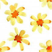 Yellow watercolor flowers - seamless pattern