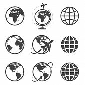 stock photo of continent  - Earth vector icons set on white background - JPG