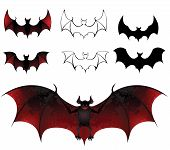 stock photo of bat wings  - artistically painted bats with beautiful texture wings on a white background - JPG