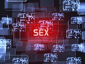 picture of porno  - Future technology red touchscreen interface - JPG
