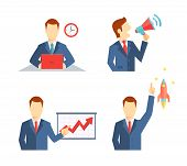 image of public speaking  - Set of businessman icons depicting a man working at his desk to a deadline  public speaking on a megaphone  doing a presentation and his career taking off like a rocket or an inspirational idea - JPG