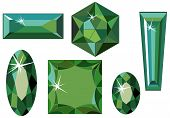 picture of marquise  - Vector illustration of different cut emeralds isolated on white - JPG