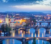 Travel Prague concept background - elevated view of bridges over Vltava river from Letna Park. Pragu