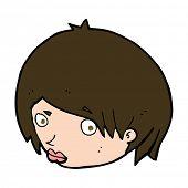 picture of raised-eyebrow  - cartoon female face with raised eyebrow - JPG