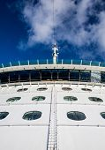 foto of cruise ship caribbean  - Steel ladder between portholes up the bulkhead of a luxury cruise ship toward bridge - JPG