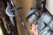 stock photo of armor suit  - The armor and axe at the market in Istanbul - JPG