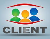 image of clientele  - Client illustration concept on grey background with group of people icons - JPG