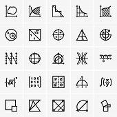 stock photo of math  - Set of Math icons on grey background - JPG