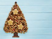 picture of hazelnut tree  - Christmas tree made of nuts cinnamon and anise - JPG
