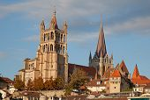 stock photo of domination  - Ancient cathedral in Lausanne - JPG