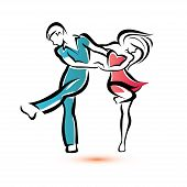 image of parti poodle  - jive dancing couple symbol outlined vector sketch - JPG