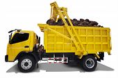 picture of truck farm  - New yellow truck carrying palm harvest isolated over white background - JPG