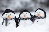 picture of triplets  - Three little snowmen wih hats and scarfs sat in the snow - JPG