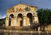 image of gethsemane  - Church of All Nations in garden of Gethsemane Jerusalem Israel - JPG