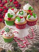 foto of ice-cake  - Christmas cup cakes and candy canes - JPG