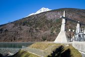 stock photo of hydroelectric power  - The lower reservoir of Lac du Verney - JPG