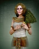 picture of female peacock  - 3D computer graphics of a young woman with ancient Egyptian makeup and clothing - JPG