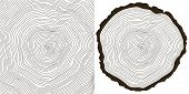 stock photo of cutting trees  - vector tree rings background and saw cut tree trunk - JPG
