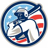 picture of hitter  - Illustration of a american baseball player batter hitter holding bat set inside circle with stars and stripes in the background done in retro style - JPG