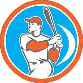 pic of hitter  - Illustration of an american baseball player batter hitter holding bat set inside circle on isolated background done in retro style - JPG