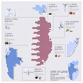 image of qatar  - Dot And Flag Map Of State of Qatar Infographic Design Template - JPG