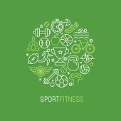 stock photo of emblem  - Vector linear sport and fitness logo design template  - JPG