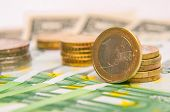 picture of currency  - a tower of Euro coins banknote European currency - JPG