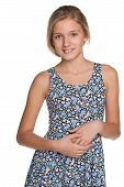 picture of preteen  - A portrait of a smiling preteen girl against the white background - JPG
