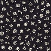 foto of germs  - Dark Seamless Pattern with Bacteria and Germs for Medical Design - JPG