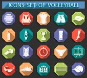 stock photo of volleyball  - Volleyball icon set  - JPG