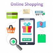 Постер, плакат: Online Shopping Icons