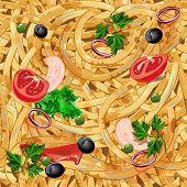 picture of spaghetti  - Endless background with spaghetti - JPG