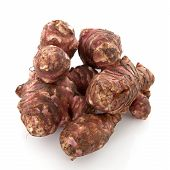 stock photo of jerusalem artichokes  - Jerusalem artichoke vegetable isolated on white background - JPG