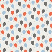 stock photo of helium  - Vector seamless celebratory pattern with balloons on a white background - JPG